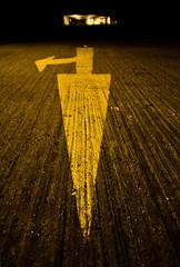 6th floor: turn right to escape (Alexandre Moreau | Photography) Tags: london texture sign yellow big nightshot bokeh parking perspective direction arrow carpark minimalist peckham secretplace 6thfloor nikond7000
