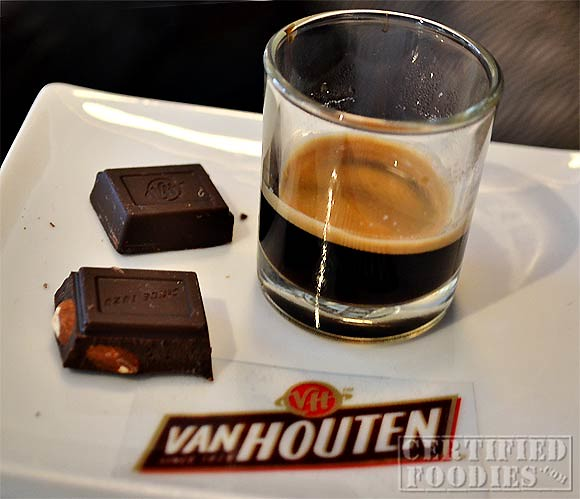 A shot of ristretto with Van Houten semi-sweet chocolates