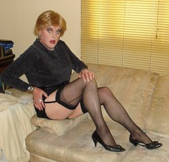 black stockings blonde (Cheryl416) Tags: black stockings sweater legs tgirl cheryl blonde heels gurl nylons garters seamed seamedstockings
