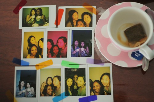 taped coloured filters on the instax