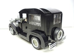 Rear angled shot (Brickadier General) Tags: auto 1920s ford car sedan 1930s gangster gangsters model lego gang chrome vehicle 1920 30s fleshies 1930 20s bootleggers bootlegger auotmobile brickarms brickwarrior