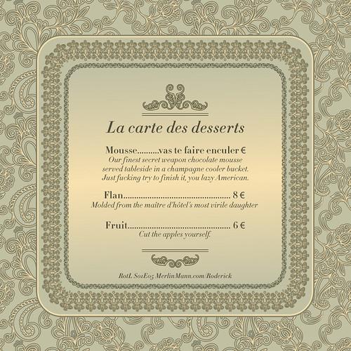La carte des desserts