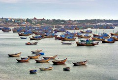 Fishing Boats (trevphotos) Tags: sea water boats coast fishing asia row vietnam muine earthasia