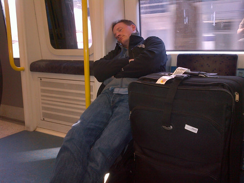 Josh sleeps on the train...