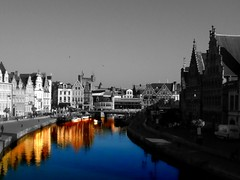 Ghent (Joe Presto) Tags: blue water buildings river boats outside gold daylight boat belgium pigeon ghent gent colorsplash 3gs iphone iphone3g colorsplashstudio iphone3gs fxphotostudio fxphotostudiopro
