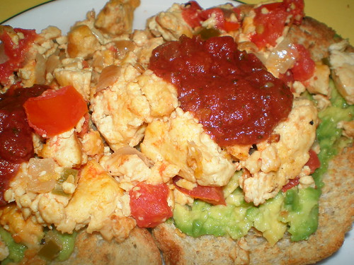 Scrambled Tofu with Chiles and Salsa