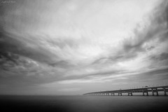 the bridge to hope (y2-hiro) Tags: bridge light sea bw seascape clouds nikon d3s