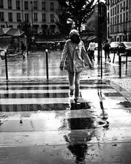 no face in the streets of rain // belleville, paris (pamela ross) Tags: street paris france reflection rain pen umbrella europe stripes belleville olympus ep1 bwblackandwhite chromo pencrossing