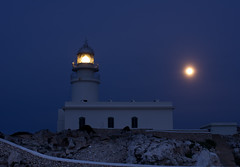The lighthouse and the moon (Ahio) Tags: moon lighthouse mediterranean nocturnal menorca capdecavallería pentaxk5