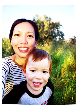 Karen and Liam (2.5yo) in the grass