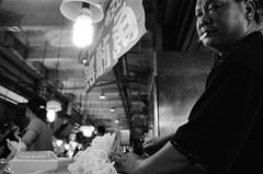 Dishes for fish (Yubai K) Tags: old light blackandwhite man film living fisherman nikon asia mood market kodak taiwan smoking  nostalgie trix400  fisheries nanfangao fm2n