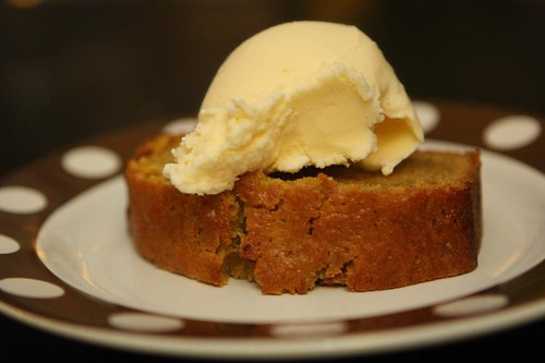 Pumpkin Bread with Vanilla Ice Cream