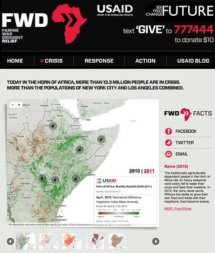 Website urging people to help fund relief efforts to stem famine in the Horn of Africa