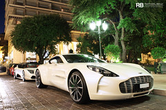 At Night (Raphaël Belly Photography) Tags: white paris car de french photography eos one hotel 1 riviera photographie martin casino montecarlo monaco belly exotic seven seventy 7d passion hermitage blanche raphael sept 77 rb dix fairmont aston spotting supercars raphaël principality soixante worldcars one77