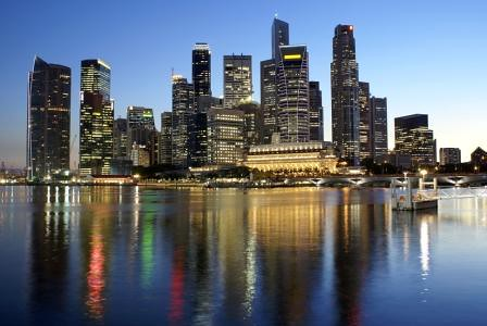 Singapore city skyline at twilight