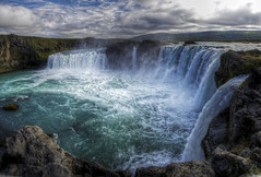 godafoss waterfall iceland (mariusz kluzniak) Tags: auto blue panorama green water beautiful waterfall iceland big europe power sony goods alpha scandinavia powerful stitched godafoss 580 the4elements a580