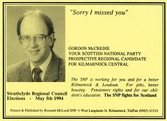 SNP Local Election Calling Card, 1994 (Scottish Political Archive) Tags: party scotland scottish national publicity campaign councillor snp mccredie