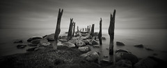 Last Known Surroundings (Jeff Gaydash) Tags: longexposure blackandwhite panorama water seascapes michigan greatlakes photomerge lakehuron lakescapes tiltshift
