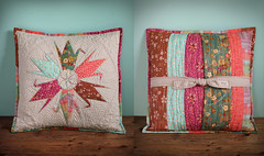 Crane Star Pillow (PatchworkPottery) Tags: origami quilt handmade embroidery cranes pillow cover patchwork zakka paperpiecing sashiko freemotion patchworkpottery laurraineyuyama