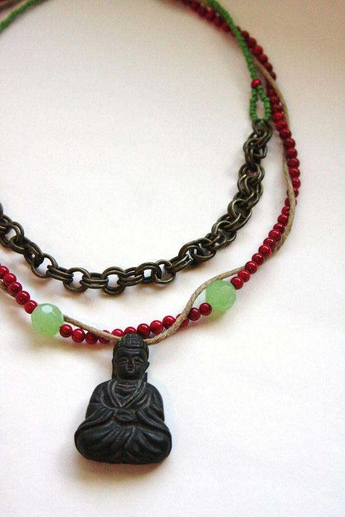 """Rope, Chain, Bead and Buddha"" Necklace"