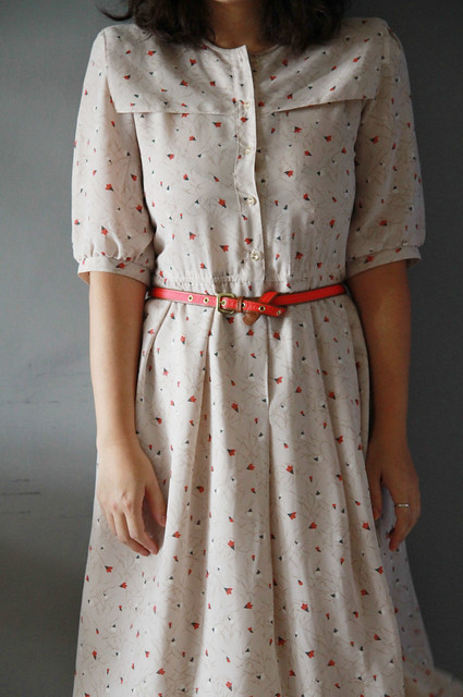 Cream floral thrifted vintage dress