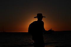 AtardecereS (fertraban) Tags: sunset sun sol beach contraluz atardecer mediterraneo barco playa puestadesol sombrero mallorca hombre baleares estrenc