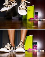 Diptych (A7nthony Photography) Tags: wood pink shadow green print shoe jump jumping diptych floor lace flash leopard converse calculator binder shoelace flickraward