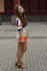 Chinese Garden (DonnaRomina) Tags: summer orange cute nature girl beautiful smile fashion vintage garden hair blog model pretty style indie earrings brunette hm wonderland lookbook