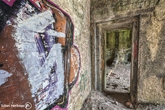 Gutted (ShrubMonkey (Julian Heritage)) Tags: door abandoned graffiti fort decay military fear neglected shell eerie vandalism discarded fortification desolate barracks derelict hdr dilapidated defacement trashed ruined gutted urbex relinquished hubberston hubberstone ringexcellence