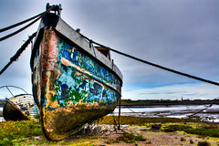 Derelict Boats on Walney (Jack//Kennedy) Tags: rot texture beach boats island coast sand weeds mud cumbria derelict hdr barrowinfurness photomatix walney northscale