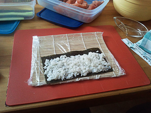start out with rice on the nori sheet