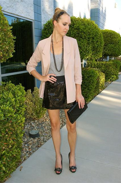 Blush blazer outfit