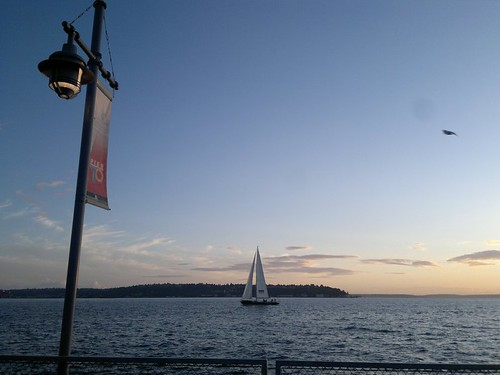 The View from the Patio of the Waterfront Seafood Grill in Seattle