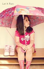 Let. It. Rain. (Sofiamee) Tags: pink autumn portrait fall girl rain socks umbrella hair shoes long boots little