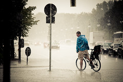 Give Up... (Pensiero) Tags: auto street man berlin cars rain bike bicycle sign strada uomo ciclista acqua pioggia automobili bicicletta berlino abbestia pouringdown cab2012 selecab