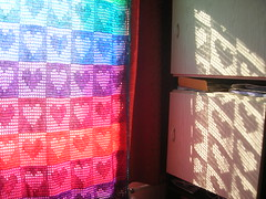 Rainbow Hearts Filet Crochet Afghan / Curtain (babukatorium) Tags: pink blue red orange color green art net love lana wool window thread yellow vintage square rainbow funny colorful warm purple heart handmade turquoise teal oneofakind pastel web curtain crochet violet shades retro cotton shade blanket afghan gradient romantic hippie psychedelic filet arcobaleno bohemian manta multicolor striped bedspread whimsical darkblue haken hkeln emeraldgreen croch coperta ganchillo fuxia uncinetto cotone fattoamano copriletto  tii horgolt babukatorium
