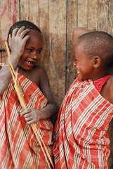 Two Joyful maasai's (didemtali) Tags: africa travel cute smile rural children tanzania play joy adorable laughter lovely maasai