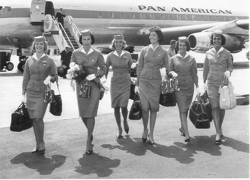 Pan Am flight stewardesses on tarmac