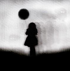 black loneliness (JuanSe5) Tags: white black blanco girl illustration grey gris colombia bogota sebastian juan ballon negro nia contraste illustrator globo juanse