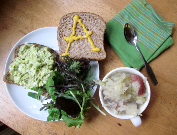 Egg Salad with Avocado and Cabbage Soup