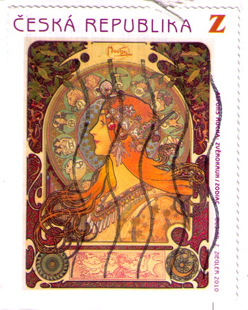 Alphonse Mucha stamp from the Czech Republic