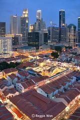 Chinatown Singapore #2. (Reggie Wan) Tags: city tourism architecture evening singapore asia southeastasia chinatown cityscape aerialview cbd bluehour highrisebuilding srimariammantemple moderncity asiancity reggiewan sonya850 sonyalpha850 gettyimagessingaporeq1