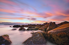 Crustaceous Ruins (Lee Sie) Tags: ocean sunset sea sky seascape beach water clouds sand marine rocks pacific tide boulders coronado pfa oceanscape