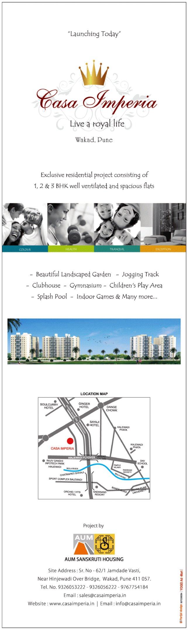 Aum Sanskruti Housing's Casa Imperia 1 BHK 2 BHK 3 BHK Flats at Jamdade Wasti near Hinjewadi Flyover Wakad Pune 411 057 - 1