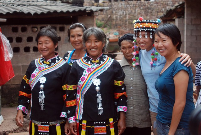 Natalie and Shelia with the villagers