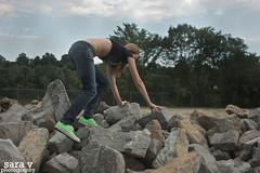 rock climbing. (365daysofsarav) Tags: river model rocks waterfront augusta midriff uploadedviaflickrqcomgirl