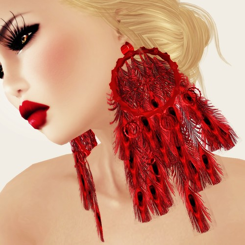 A&A Fashion Earrings Peacock - red