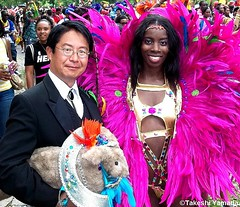Seara (sea rabbit), Dr. Takeshi Yamada and costumed beautiful parader at the Labor Day Parade (West Indian-American Day Parade) in Crown Heights, Brooklyn, New York. (September 5, 2011)  20110905 100_2500 (searapart7) Tags: carnival portrait sculpture newyork sexy celebrity rabbit art ecology fashion monster japan brooklyn painting coneyisland japanese tokyo google dragon dinosaur georgebush politics gothic goth victorian taxidermy vogue cnn tuxedo freak bbc playboy environment osaka abc genius mermaid salvadordali billclinton mythology pbs ronaldreagan anthropology cbs scientist jackalope nhk globalwarming cabinetofcuriosities kunstkammer zoology pablopicasso steampunk wunderkammer cryptozoology alberteinstein barackobama rushlimbaugh leonardodavinci circussideshow fijimermaid marinebiologist cryptid michaelbloomberg niconico greatartist seanhannity globalcooling michaelsavage takeshiyamada museumofworldwonders globalclimatechange roguetaxidermy searabbit
