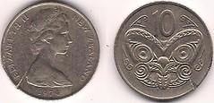 New Zealand 10 cents 1974 (Dser1) Tags: newzealand 1974 coin 10 cent queen crack collection copper nickel maori damaged elizabethii 10cents queenelizabethii numismatics coppernickel cupronickel carvedhead koruru