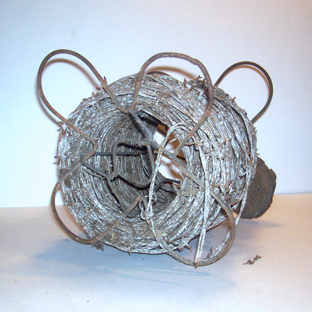 Antique Barb Wire or Bobbed Wire Roll 4 Pt Barbed Metal Old Primitive Farmhouse Decor